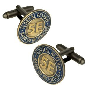 "3/4"" Cufflinks, Custom Die Struck Antique Finish"