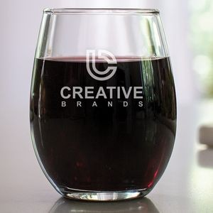 9 Oz. Stemless Wine Glass w/Laser Engraved Logo