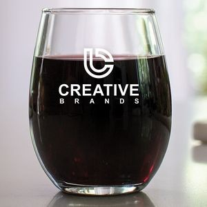 9 Oz. Stemless Wine Glass w/Screen Printed Logo